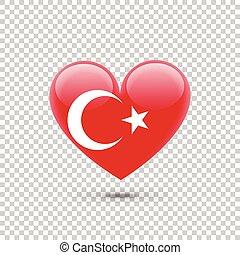 hart, vlag, turkse, pictogram