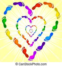 hart, voetafdrukken, gemaakt