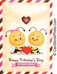 hart, voor altijd, gezegde, schattig, mijn, samen, bij, vieren, vector, vasthouden, spandoek, dag, kaart, valentine?s