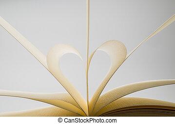 hart, vormen, boek, achtergrond, leeg, witte pagina's