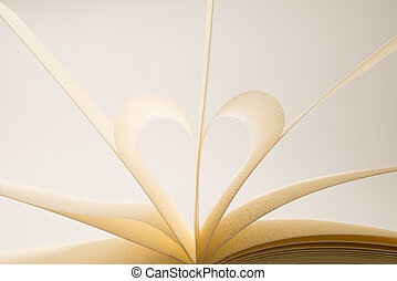 hart, vormen, vorm, boek, leeg, pagina's