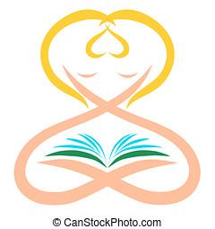hart, vrouw, beeld, boek, creatief, vorm, lezende