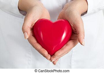 hart, vrouwlijk, bedekking, holdingshanden, rood, doctors's