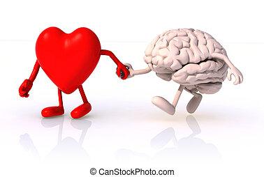 hart, wandelende, concept, hand, wandeling, hersenen, ...