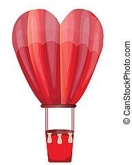 hart, warme, balloon, lucht