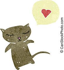 hart, weinig; niet zo(veel), liefde, kat, retro, spotprent