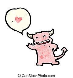 hart, weinig; niet zo(veel), liefde, monster, spotprent