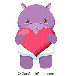 hart, weinig; niet zo(veel), liefde, nijlpaard, schattig, baby