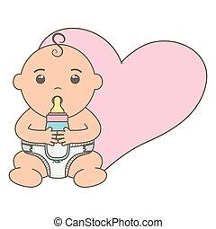 hart, weinig; niet zo(veel), schattig, jongen, fles, baby, melk