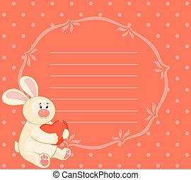 hart, weinig; niet zo(veel), speelbal, konijntje, spotprent