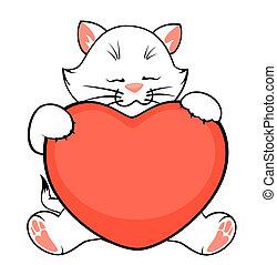 hart, weinig; niet zo(veel), spotprent, katje