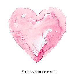 hart, witte achtergrond, vrijstaand, watercolour