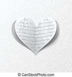 hart, witte , de kaart van het document, trouwfeest