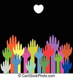 hart, witte , op, kleurrijke, handen