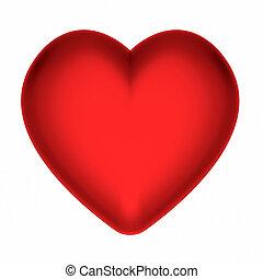 hart, witte , vrijstaand, rood