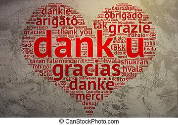 hart, woord, gevormd, u, dank, dank, achtergrond, hollandse, grunge, wolk