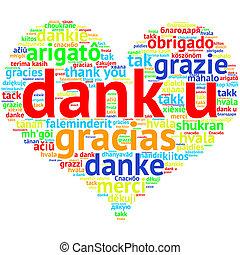 hart, woord, gevormd, u, dank, dank, hollandse, witte wolk