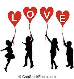 hart, woord, silhouettes, liefde, ballons, kinderen