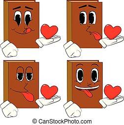hart, zijn, hand., boekjes , vasthouden, rood