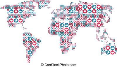hart, zoals, wereldkaart, media, concept., form., illustratie, symbolen, smm, vector, sociaal, seo