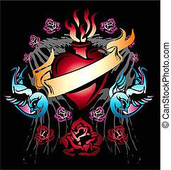 hart, zwaluw, spandoek, lint