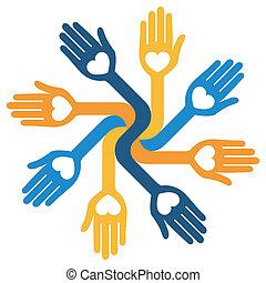 hartelijk, het geven, circulaire, hands.