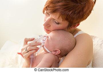 hartelijk, mamma, het vergasten, ziek, baby