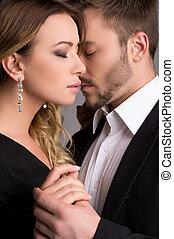 hartelijk, paar., mooi, jong paar, in, formeel voeren,...
