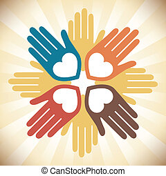 hartelijk, verenigd, ontwerp, kleurrijke, handen