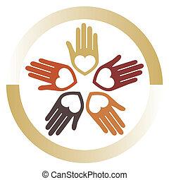 hartelijk, verenigd, vector., handen