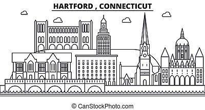 Hartford , Connecticut architecture line skyline ...