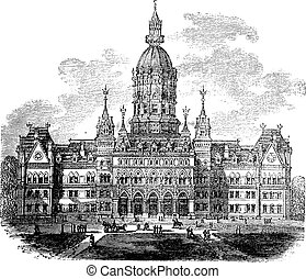 Hartford, Connecticut, New State House vintage engraving. Old engraved illustration of Connecticut state capitol building, 1800s.