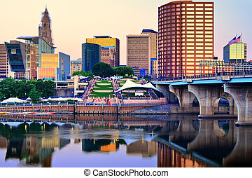 Hartford Connecticut Skyline - Skyline of downtown Hartford,...