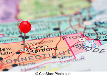 Hartford pinned on a map of USA - Photo of pinned Hartford...