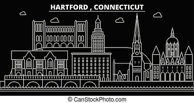 Hartford silhouette skyline. USA - Hartford vector city, american linear architecture, buildings. Hartford travel illustration, outline landmarks. USA flat icon, american line banner