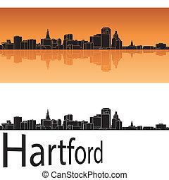Hartford skyline in orange background in editable vector...