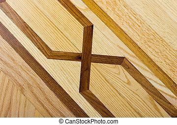 hartholz, parkettboden, mit, muster