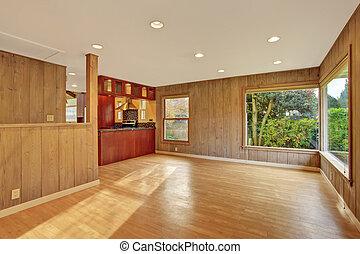 hartholz, wohnzimmer, floor., nett