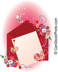 hartjes, achtergrond, kaart, valentijn