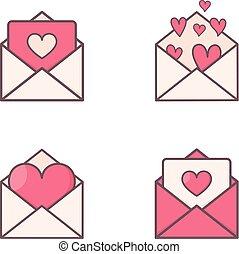 hartjes, binnenkant., enveloppen