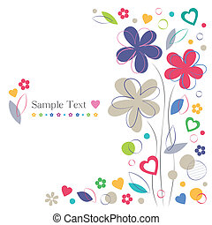 hartjes, bloemen, begroetende kaart