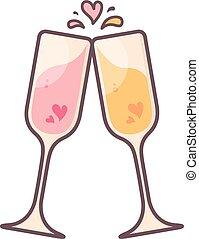 hartjes, champagne, binnenkant., bril