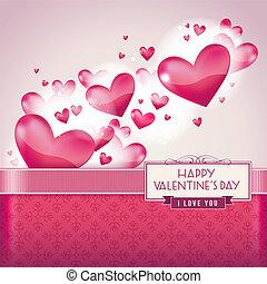 hartjes, dag, kaart, valentine