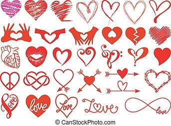 hartjes, en, liefde, vector, set