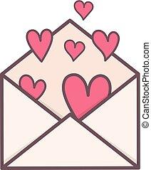 hartjes, enveloppe, binnenkant.