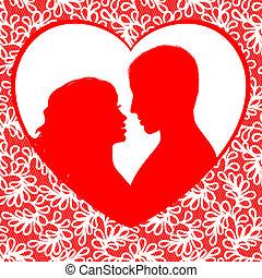 hartjes, frame, dag, valentine