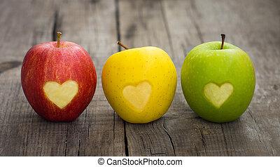 hartjes, gegraveerde, appeltjes
