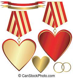 hartjes, goud, rood