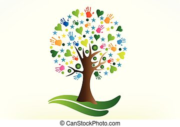 hartjes, handen, boompje, logo