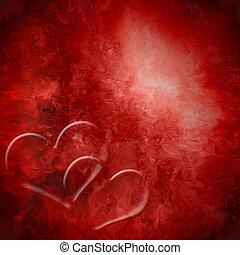hartjes, hartstocht, twee, achtergrond, rood